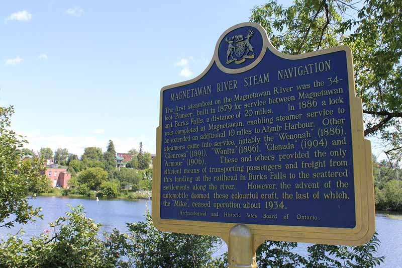 Magnetawan River historical plaque, Burks Falls